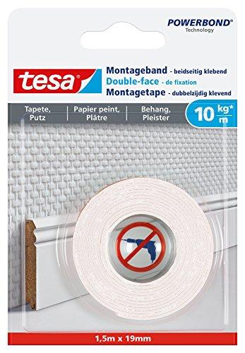 tesa Montageband für Tapeten und Putz, 1,5m x 19mm