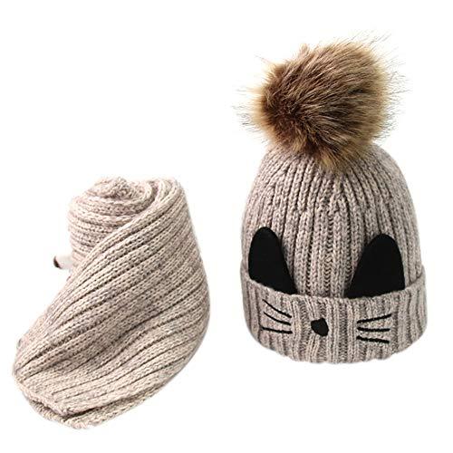 ODJOY-FAN-bambino Gattino Più velluto Cappello lavorato a maglia + sciarpa Abito due pezzi-Bambino carino inverno neonato cappelli in lana orlo cappello