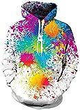 Loveternal Paint Felpa Uomo 3D Stampa Felpe con Cappuccio Pullover Colore Dipingere Hoodie Manica Lunga Sweatshirt con Tasche S