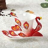 U/K Conjunto de Esmalte de Porcelana de Porcelana de Taza de Taza de Taza de Taza de café Peacock con Cuchara y platillo Chino 200ml (Color : Red)
