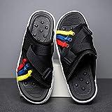 COQUI Zapatillas de Verano Hombre,Zapatillas de Zapatillas Coreanas de Verano para Hombre-Negro_43