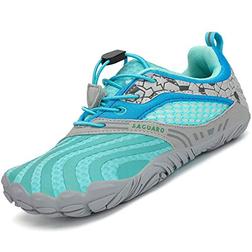 SAGUARO Kinder Barfußschuhe Traillaufschuhe Jungen Mädchen Trainingsschuhe Zehenschuhe rutschfest Walkingschuhe Himmelblau Gr.32