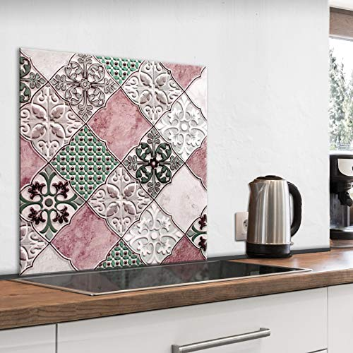 murando Spritzschutz Glas für Küche 80x80 cm Küchenrückwand Küchenspritzschutz Fliesenschutz Glasbild Dekoglas Küchenspiegel Glasrückwand Fliesen Mosaik - f-B-0297-aq-a