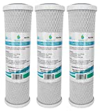 3x AquaHouse AH-CTO5 Cartouches de filtre à eau en bloc de carbone de 10 po pour eau potable, systèmes d'osmose inverse, s'adapte à tous les boîtiers de filtre de 10' 25cm