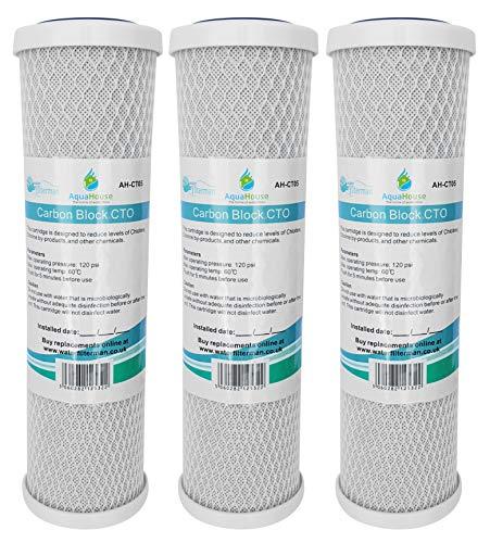 """3x AquaHouse AH-CTO5 Cartouches de filtre à eau en bloc de carbone de 10 po pour eau potable, systèmes d'osmose inverse, s'adapte à tous les boîtiers de filtre de 10"""" 25cm"""