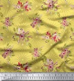 Soimoi Gelb Schwere Canvas Stoff Blätter & Blumen Blumen,