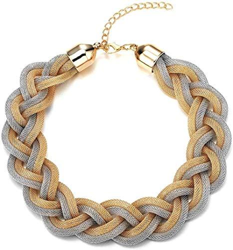 YOUZYHG co.,ltd Collar con Colgante de Oro Negro, cordón Trenzado, Collar Grande, Babero, Gargantilla, Vestido de Bola (CA)
