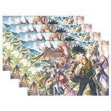 fengxianahubaihuo Placemat,Anime My He-Ro ACA-Demia Tablemat, Tapete De Mesa Lindo Y Divertido para Decoración Interior Al Aire Libre Set De 6,30x45cm