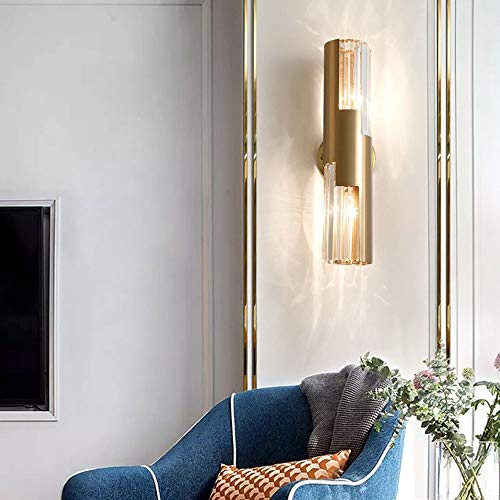Sunny Lingt Cylindrical Brass Crystal Wall Light Sconces, Modern Bedroom Reading Lamp, Living Room Decor Wall Lighting Fixture, E14 Farmhouse LED Wall Lantern, for Bedside Aisle Corridor Decor