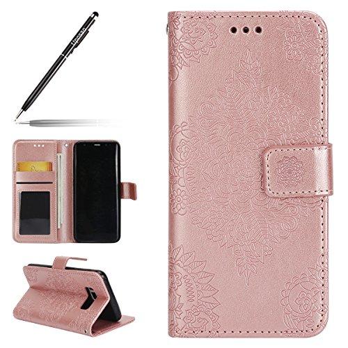 Uposao Kompatibel mit Handyhülle Galaxy S8 Plus Leder Tasche Handytasche Retro Prägung Mandala Blumen Muster Lederhülle Flip Wallet Case Brieftasche Klapphülle Kartenfach,Rose Gold