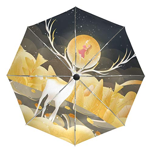 Mr.Lucien Cute Reindeer Moon Young Girl Watercolor Painting Compact Umbrella, Animal Fantasy Gorgeous Automatic Folding Travel Umbrella, Windproof Auto Open/Close for One Handed Operation 2020180