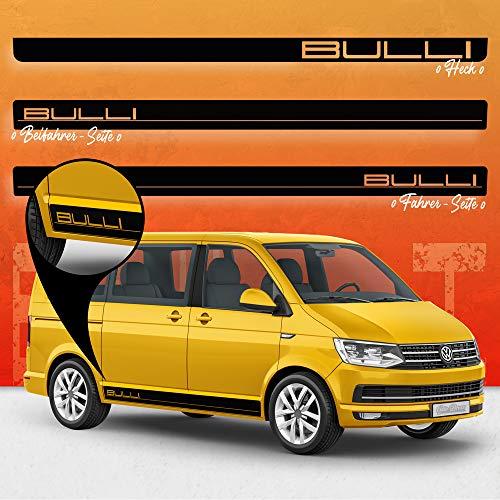 Auto-Dress® Seiten-Streifen Aufkleber Set/Dekor passend für VW T4, T5 & T6 Bus in Wunschfarbe - Motiv: Bulli (070M Schwarz-Matt, Radstand: Kurz)