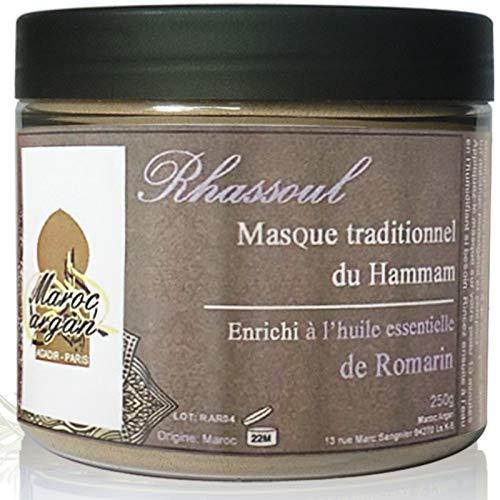 Rhassoul en poudre à l'huile essentielle de Romarin - Argile Purifiante 100% Naturelle et Hypoallergénique - Masque Peau et Cheveux - 250g