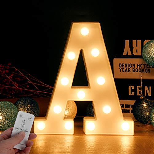 WHATOOK Letras Luminosas Decorativas: con Luces LED, Letra A-Z con Mando a Distancia Regulable, Color Blanco - Letra A