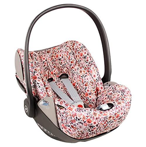 Ukje - Funda silla coche para Cybex Cloud Z - Ajuste perfecto - Tela de algodón transpirable - Funda Cybex Cloud Z - Reduce la sudoración - Lavable a máquina - Fácil de instalar - Rosa Flores