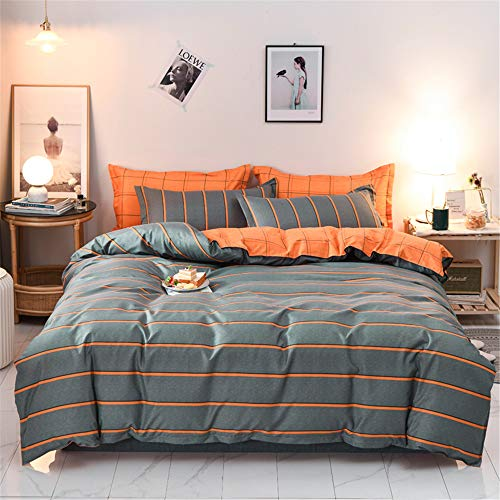 Fansu Duvet Cover Set Plain Print Bedding Sets for boy girl Double King Single Size Bed 4 Piece Duvet Set 2 x Pillowcases 1 x Quilt Case 1 x Flat Sheet (Double-200x200cm,Orange stripes)
