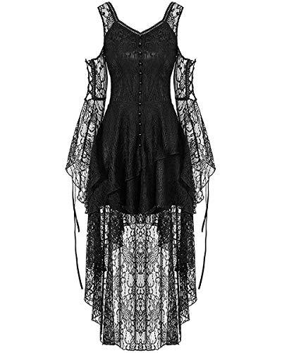 Dark In Love Gothique Dentelle Robe Noire Steampunk Sorcière Vintage Victorien Vampire - Noir, XXL - UK Womens Size 16