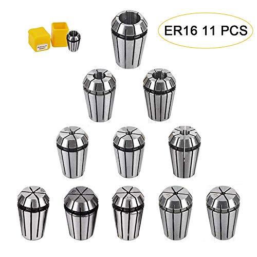 ER16 Spannzangenbohrfutter-Set, 11 Stück, ER16 Federspannzange, 1–10 mm für CNC-Gravurmaschine Drehfräser
