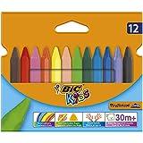 BIC KIDS Dreikant-Wachsmalkreide PLASTIDECOR Triangle, 12 Farben sortiert, Kartonetui à 12 Stück