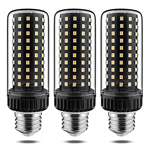 Yiizon LED E27 25W lampadine a candela, 200W equivalenti a incandescenza, 3000K Bianca Calda Lampadine Candelabri E27, 2500LM, Vite Edison Lampadine Mais 3-Pacco