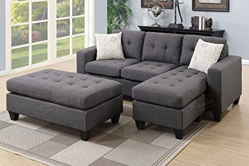 Best Poundex One Sectional with Ottoman and 2 Pillows in Gray, Blue Grey