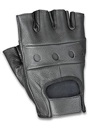 Classic Cowhide Leather Fingerless Glove (Black)