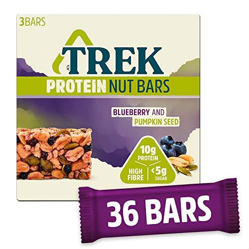 TREK Protein Nut Bar Blueberry & Pumpkin - Low Sugar - High Protein - Vegan, 40g (Multipack case 36 Bars)