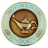 PinMart Nursing Graduate Lamp of Knowledge Circle Teal Enamel Lapel Pin