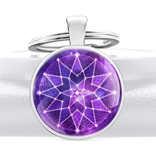 YXDEW Chispeante púrpura diseño de Cristal Vidrio cabujón Metal Colgante Llavero Encanto Hombres Mujeres Llavero Anillo joyería Regalos llaveros llaveros Accesorios