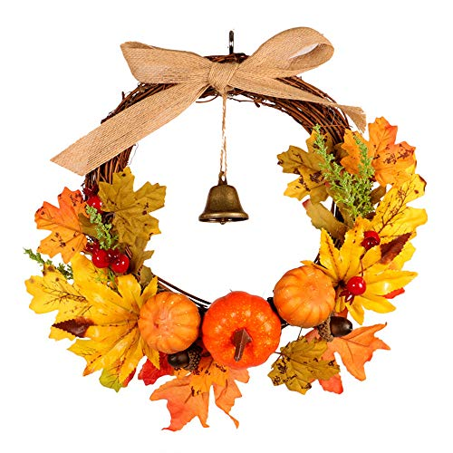 Boping Rattan Berry Maple Leaf Fall Door Wreath Door Wall Ornament Halloween Wreath Harvest Wreath Thanksgiving Autumn Wreath Decoration Pumpkin Berry Maple Leaf Wreat Home Outdoor(1Pc 11.8'')