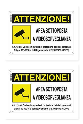 """CARTELLO AREA SOTTOPOSTA A VIDEOSORVEGLIANZA 18 X 12 cm GDPR"""" IN PVC (2)"""