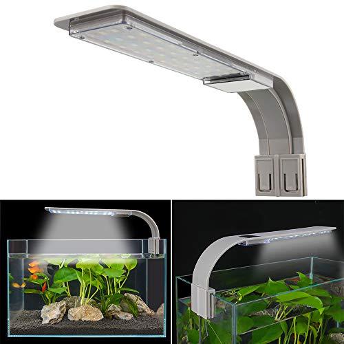 SENZEAL X9 LED Aquarium Beleuchtung Widder Super Slim Aquarium Licht LED Clip-on Lampe 220V 15W 2000LM für 14 bis 19 Zoll Fisch Tank Weiß und Blau Licht (Grau)