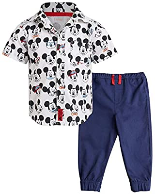 Disney Baby Boys' Infant Mickey Mouse 2-Piece Woven Pant Set, Size 12 Months, Mickey White All Over'