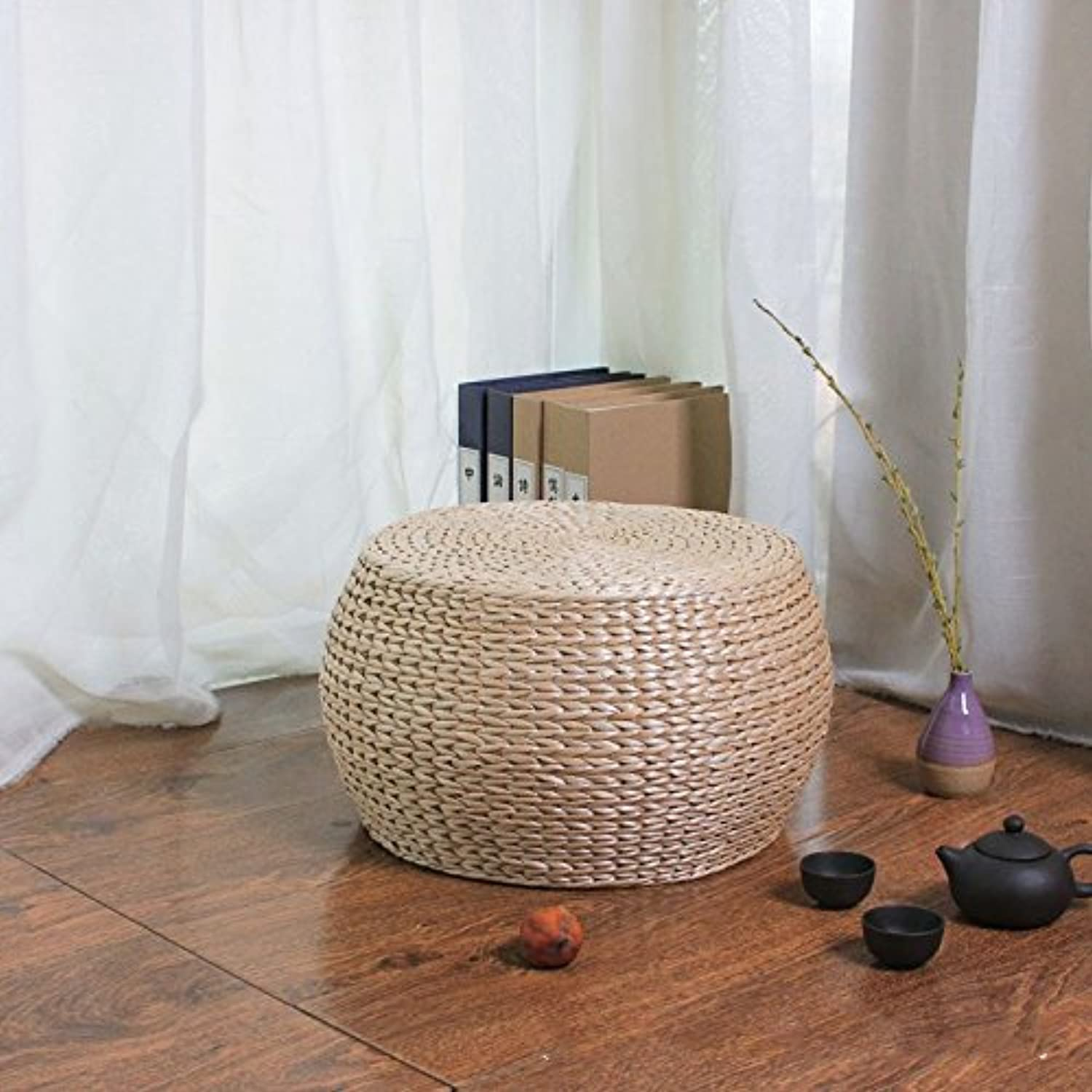 Dana Carrie Straw admitted that idyllic rattan Straw admitted stool solid wood shelf pin again in other shoes that can be used as a seat round stool ,3222CM