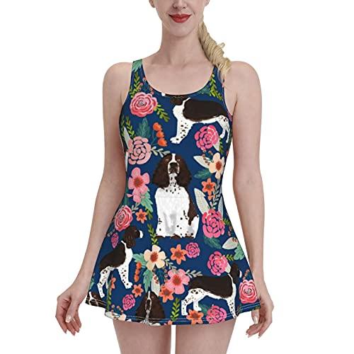 Traje de baño de mujer talla grande traje de baño retro traje de baño inglés Springer Spaniel floral, multicolor, L-XL