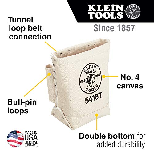 Klein Tools 5416T Tool Bag, Bull-Pin and Bolt Pouch, No. 4 Canvas with Tunnel Connection, 5 x 10 x 9-Inch