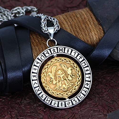 NDYD Collar Giratorio Nórdico Vikingo De Acero Inoxidable Odin Rune Raven con Bolsa De Regalo Valknut