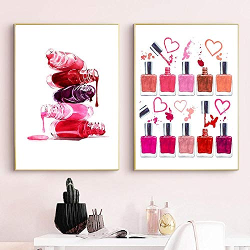Nagellak druk make-up illustratie schoonheid poster badkamer decor ijsheid kunst canvas schilderij nagels salon studio wanddecoratie 40x60cmx2 niet ingelijst