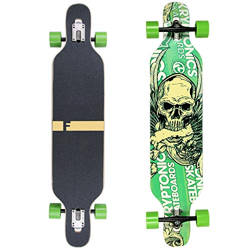 FunTomia Longboard Skateboard Drop Through Cruiser Komplettboard mit Mach1 High Speed Kugellager T-Tool mit und ohne LED Rollen (Mod. Camber - Ahornholz grün Skull)