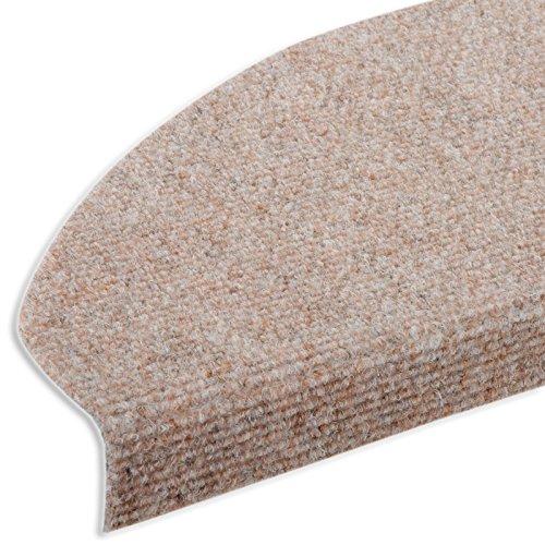 casa pura® Textilfaser - Stufenmatten für attraktive & sichere Treppenstufen | 15 Stück | beige