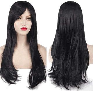 شعر مستعار جذاب مموج طويل للسيدات- لون اسود