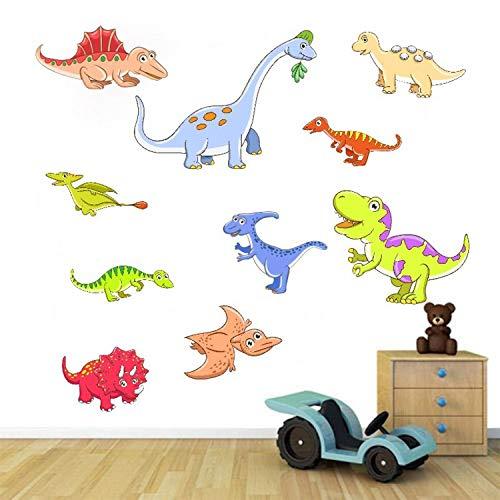ZYLBL Pegatinas de pared para sala de estar, dormitorio, oficina, habitación de los niños, papel pintado de vinilo de dinosaurio de dibujos animados para el hogar, 2 unidades
