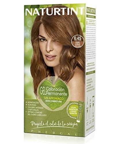 Naturtint, Coloración sin amoniaco, 100% cobertura de canas, Ingredientes vegetales, Color natural y duradero, 6.45, Rubio Amabar Oscuro, 170 ml