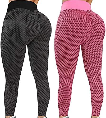 DXZ-Design Calças Femininas de Cintura Alta para ioga com borbulha elástica collants de Corrida e Leggings Tamanho favo de Mel