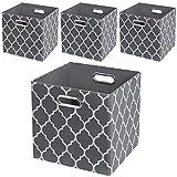 Storage Cubes,11×11 Collapsible Fabric Storage Bins Boxes Baskets - Set of 4, Grey Lantern Patterned