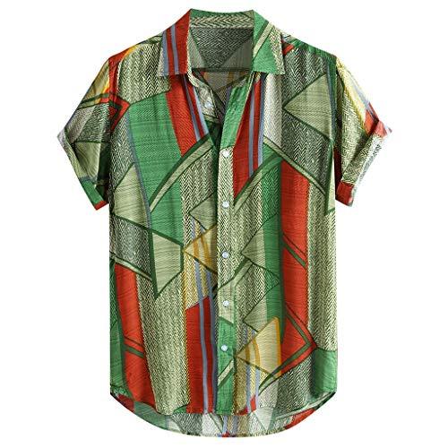 Andouy Mode Hawaii Hemd für Männer Strand Party Holiday Lässige Kurzarm Drucken Knopf Hemden Regular Fit T-Shirt(3XL.Grün-1)