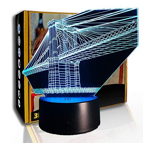 JINYI Puente de luz nocturna 3D sobre el mar, lámpara visual de ilusión LED, F- Base de audio Bluetooth (5 colores), Lámpara visual, Regalo de Navidad
