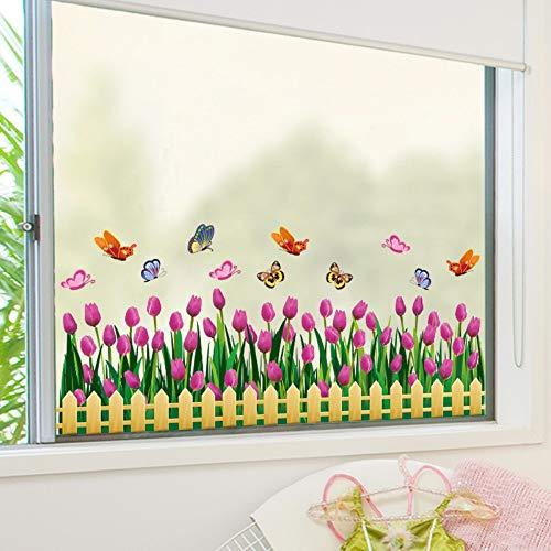 Muurstickers Tulpen Venster Sticker Vinyl Bloem Baseboard Rokken Bloemetjes Voor Woonkamer Glas Raam Decoratie