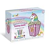abeec Hucha de unicornio para decorar tu propia hucha de unicornio, con purpurina, gemas, pintura y 2 pinceles para decorarte a ti mismo, regalos de unicornio para niñas de 5 años