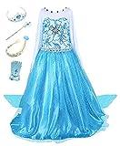 Beunique Robe Filles Reine des Neiges Costume et Accessoires Princesse Elsa Cosplay Robe de Soirée Carnaval Déguisements  -  Bleu -  110cm
